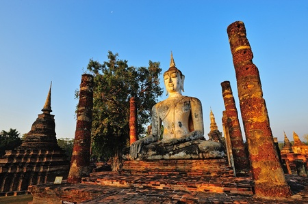 Ancient buddha statue. Sukhothai Historical Park, Sukhothai Province, Thailand  photo
