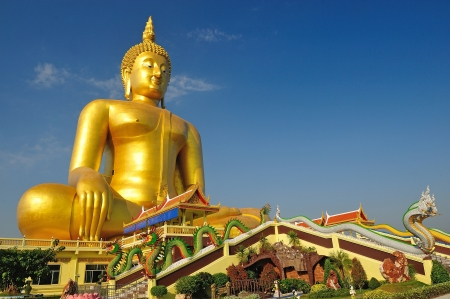Golden Buddha statue at Wat Muang in Angthong, Thailand