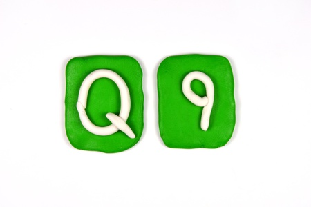 monotype: plasticine letter q
