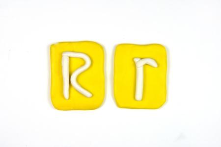 plasticine letter r Stock Photo