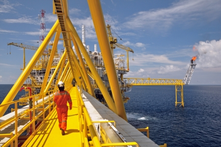 drilling: The gas flare is on the oil rig platform in the gulf of thailand  Stock Photo