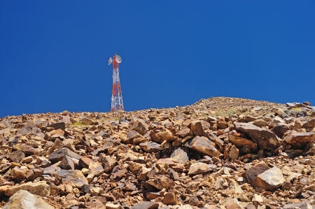 Tower of telecommunications on mountain, leh, ladakh, india  photo