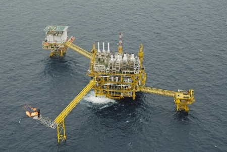 The gas flare is on the oil rig platform in the gulf of thailand  Stock Photo