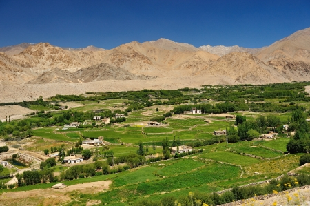 Beautiful scenic view of Leh valley, Ladakh range, Jammu & Kashmir, Northern India  photo