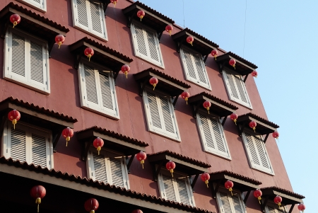 fronts: highly decorated shophouse fronts, Malacca, Malaysia  Stock Photo