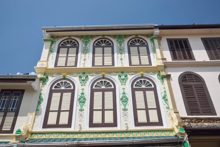 highly decorated shophouse fronts, Malacca, Malaysia  photo