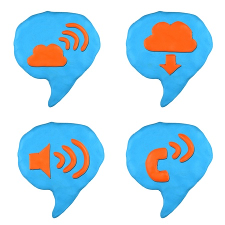 social icon bubble talk set made from plasticine isolated Stock Photo - 20304188