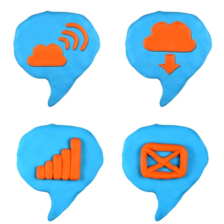 social icon bubble talk set made from plasticine isolated Stock Photo - 20304170