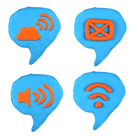 social icon bubble talk set made from plasticine isolated Stock Photo - 20304184