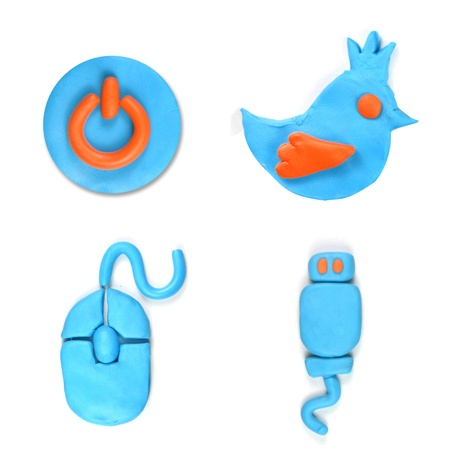 social icon set made from plasticine isolated Stock Photo - 20304168