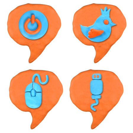 social icon bubble talk set made from plasticine isolated Stock Photo - 20304124