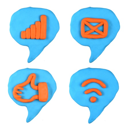 social icon bubble talk set made from plasticine isolated Stock Photo - 20304182