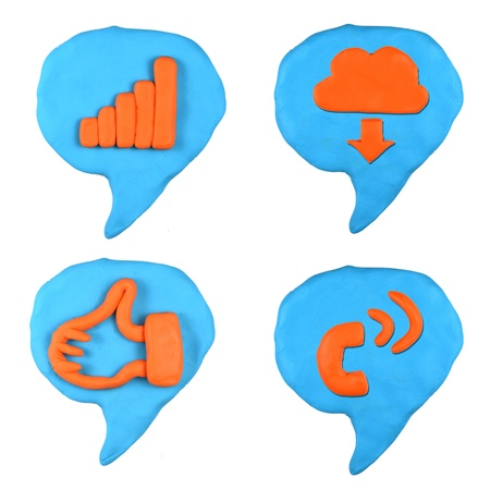 social icon bubble talk set made from plasticine isolated Stock Photo - 20304187