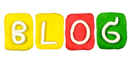 Colorful plasticine alphabet form word BLOG photo