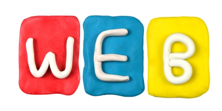 Colorful plasticine alphabet form word WEB photo