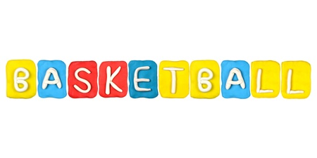Colorful plasticine alphabet form word BASKETBALL photo
