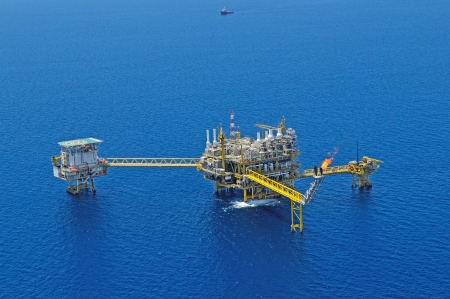 construction platform: The gas flare is on the oil rig platform in the gulf of thailand, Aerial view