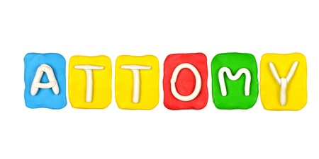 Colorful plasticine alphabet form word ATTOMY photo