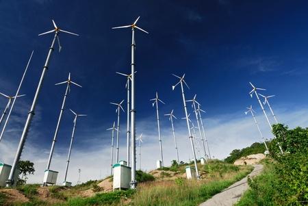 power production: Wind mill power plant on Larn island,Pattaya city,Thailand  Stock Photo