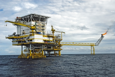 An offshore production platform in a Gulf of Thailand  Stock Photo