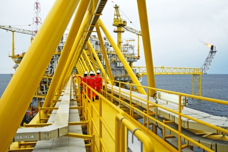 helideck:  offshore worker on the platform rig