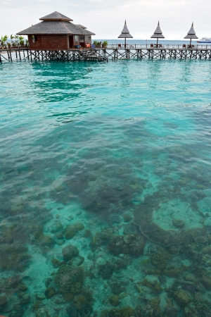 mabul: A view of resort of Mabul in the middle of sea celebes ocean