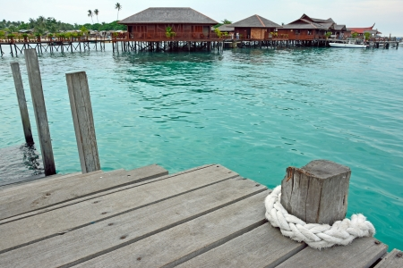 A view of resort of Mabul in the middle of sea celebes ocean photo