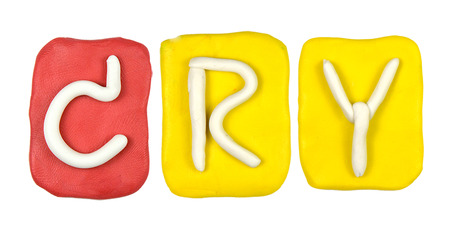 Colorful plasticine alphabet form word CRY photo