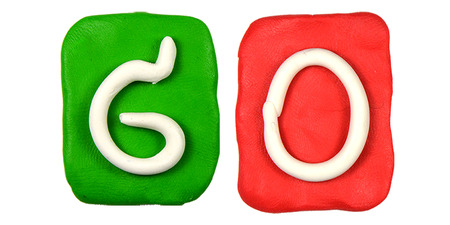 Colorful plasticine alphabet form word GO photo