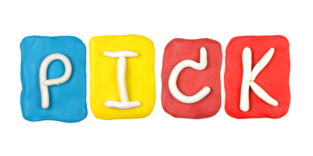 Colorful plasticine alphabet form word PICK photo