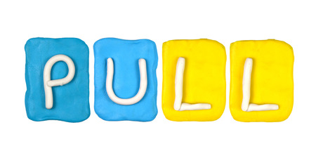 Colorful plasticine alphabet form word PULL photo
