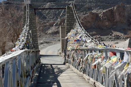 indian creek: Bridge cross over Indus River, Ladakh, India