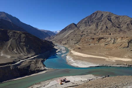 confluence: Confluence of Zanskar and Indus rivers - Leh, Ladakh, India  Stock Photo