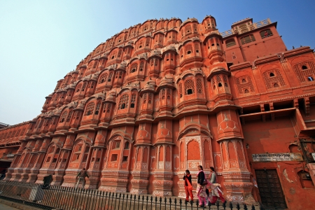 JAIPUR, INDIA - DECEMBER 10: Hawa Mahal or Palace of Winds. It was built of pink sandstone in 1799. 953 small windows are decorated with intricate latticework; December 10, 2006 in Jaipur,India