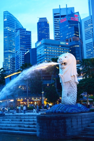 SINGAPORE-Apr 30:The Merlion fountain Apr 30, 2012 in Singapore.Merlion is a mythical creature with the head of a lion and the body of a fish,and is a symbol of Singapore.