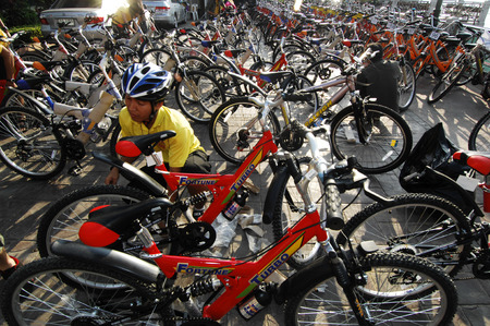 Bangkok - DECEMBER 01: Many bicycles parked in front of the Chaophraya River on December 1, 2007 in Bangkok, Thailand.