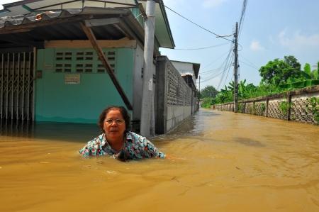 AYUTTHAYA, THAILAND - OCTOBER 21: Heavy flooding from monsoon rain in Satoe temple at Ayutthaya on October 21, 2010 in Ayutthaya, Thailand.  Editorial