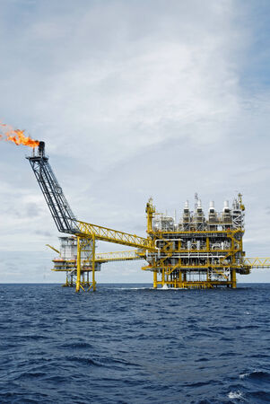 Oil and gas platform with gas burning, Power energy.  photo