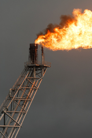 fire on rig in the gulf of thailand  photo