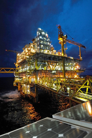 twilight of an offshore oil rig at Thailand. photo