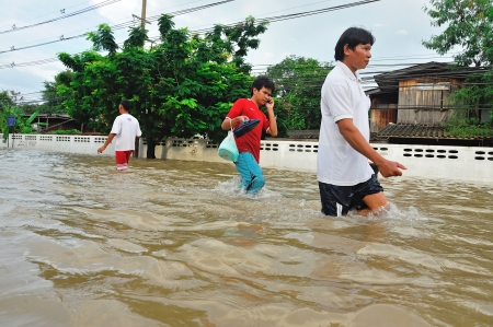 NAKORNRACHARSIMA, THAILAND - OCTOBER 18: Heavy flooding from monsoon rain at Maharaja hospital on October18, 2010 in Nakornrachasima, Thailand.  Editorial