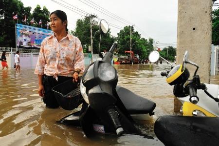 NAKORNRACHARSIMA, THAILAND - OCTOBER 18: Heavy flooding from monsoon rain at Maharaja hospital on October18, 2010 in Nakornrachasima, Thailand.  Editorial