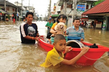 NAKORNRACHARSIMA, THAILAND - OCTOBER 19: Heavy flooding from monsoon rain near Maharaja hospital on October19, 2010 in Nakornrachasima, Thailand.