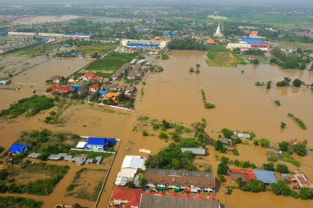 NAKORNRACHARSIMA, THAILAND - OCTOBER 20: Heavy flooding from monsoon rain from aerial view on October 20, 2010 in Nakornrachasima, Thailand.