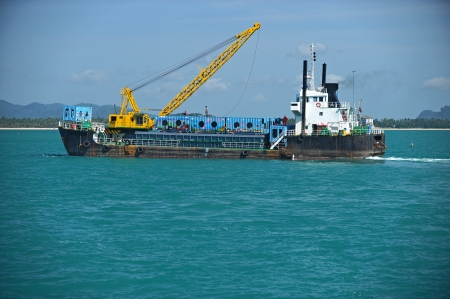 grounding:  cargo ship  drop container in the sea for artificial reef in Nakornsrithammarat, Thailand.