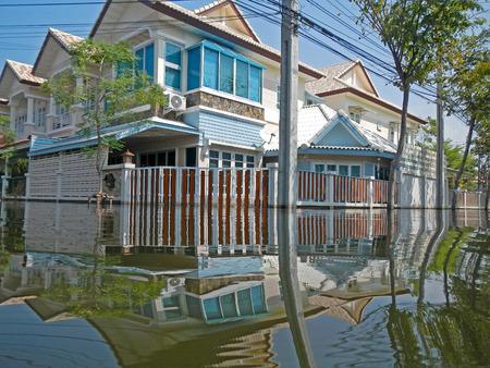 BANGKOK, THAILAND - NOV 11: The worst flood on village at Taling Chan distric after Thai flood crisis on November 11, 2011 in Bangkok, Thailand