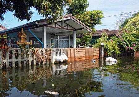 worst: BANGKOK, THAILAND - NOV 13: The worst flood on village at Bang Kruai distric after Thai flood crisis on November 13, 2011 in Bangkok, Thailand