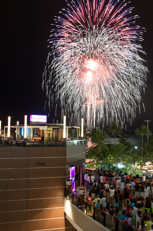 aerial bomb: PATTAYA, THAILAND AUGUST 14: Big firework on the sea Pattaya city on August 14, 2010 in Pattaya Chonburi, Thailand.