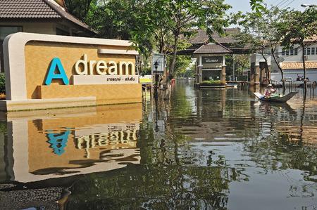 worst: BANGKOK, THAILAND - NOV 21: The worst flood on village at Taling Chan distric after Thai flood crisis on November 21, 2011 in Bangkok, Thailand