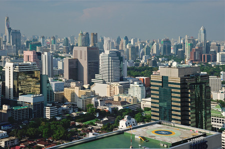 BANGKOK, THAILAND APRIL 28: Bangkok skyline from bird eye view on April 28, 2011 in Bangkok , Thailand.